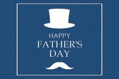 Gl?cklicher Vater ` s Tageshintergrund Hutzylinder und Schnurrbart, dunkelblauer Hintergrund lizenzfreie abbildung