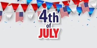 Gl?ckliches 4. der Juli-Feiertagsfahne von Juli-Hintergrund lizenzfreies stockfoto