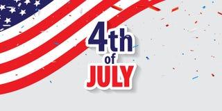 Gl?ckliches 4. der Juli-Feiertagsfahne von Juli-Hintergrund stockfoto