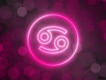 Gl?dande neontecken av cancer med suddig bokehbakgrund illustration 3d vektor illustrationer