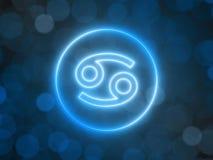Gl?dande neontecken av cancer med suddig bokehbakgrund illustration 3d royaltyfri illustrationer