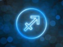 Gl?dande neontecken av Skytten med suddig bokehbakgrund illustration 3d vektor illustrationer