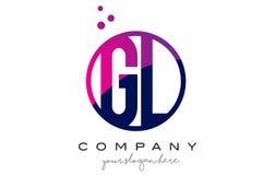 GL G L Circle Letter Logo Design with Purple Dots Bubbles Stock Image