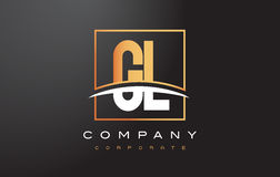 GL G L Golden Letter Logo Design with Gold Square and Swoosh. Stock Photography