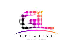 GL G L Letter Logo Design with Magenta Dots and Swoosh Stock Images