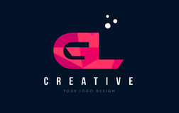 GL G L Letter Logo with Purple Low Poly Pink Triangles Concept Royalty Free Stock Images