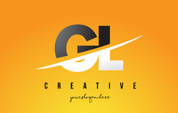 GL G L Letter Modern Logo Design with Yellow Background and Swoo. GL G L Letter Modern Logo Design with Swoosh Cutting the Middle Letters and Yellow Background Stock Photography