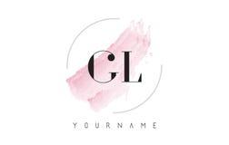 GL G L lettre Logo Design d'aquarelle avec le modèle circulaire de brosse Photographie stock libre de droits