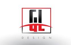 GL G L Logo Letters avec des couleurs et le bruissement rouges et noirs Photos stock