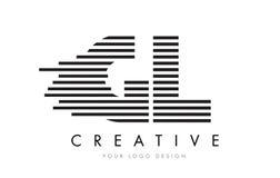 GL G L Zebra Letter Logo Design with Black and White Stripes Stock Photos