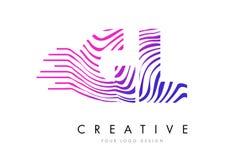GL G L Zebra Lines Letter Logo Design with Magenta Colors Stock Images