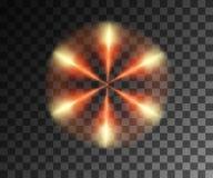 Gl?hende Leuchte Abstrakter gelber Effekt Goldene Lichteffekte mit der Partikeldekoration lokalisiert auf das transparente vektor abbildung