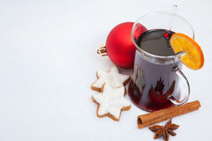 Glühwein on snow background Stock Photo