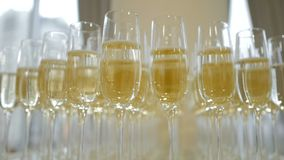 Gl?ser mit Champagner auf dem Tisch stock video