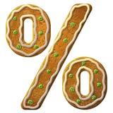 Glaçage coloré décoré de signe de pour cent de pain d'épice Photographie stock