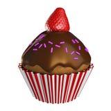 Glaçage et fraise de petit gâteau de chocolat sur le dessus Photos stock