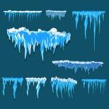 Glaçon de vecteur et clipart d'éléments de neige Chapeau différent de neige Image stock