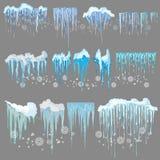 Glaçon de vecteur et clipart d'éléments de neige Chapeau différent de neige Images libres de droits