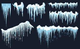 Glaçon de vecteur et clipart d'éléments de neige Chapeau différent de neige Photos stock
