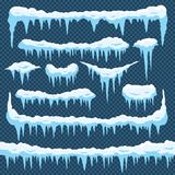 Glaçons de neige de bande dessinée Glace de glaçon avec le snowcap sur le dessus Frontières de chute de neige d'hiver pour la con illustration libre de droits