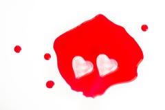 Glaçons en forme de coeur Image stock