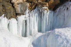 Glaçons sur le lac Baïkal Photographie stock libre de droits