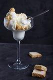 Glace à la vanille avec des miettes de sablé photo libre de droits