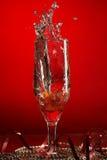 Glace avec le champagne et les fraises Image libre de droits