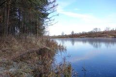 Glace bleue sur la surface d'un lac de forêt La neige n'est pas encore tombée L'hiver tôt photos libres de droits