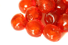 Glace cherries D. Photograph of glace cherries isolated against a white background Royalty Free Stock Photo