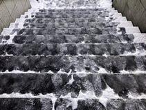 Glace couverte par escalier glissant photographie stock