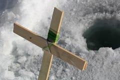Glace croisée faite maison canne à pêche Photo libre de droits