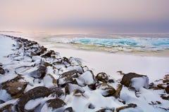 Glace d'étagère sur la Mer du Nord en hiver Images stock