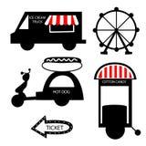 Glace de camion de nourriture de cirque, collection de cirque avec le carnaval, foire d'amusement Image libre de droits