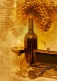 Glace de cru et vin de bouteille Images stock