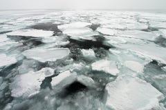 Glace de dérive de mer d'Okhotsk au Hokkaido, Japon Photos stock