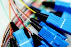 Glace de fibre avec des fiches de Sc-Connecteur Images stock
