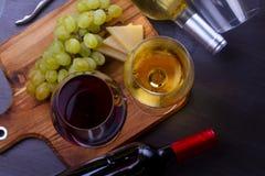 Glace de vin rouge et blanc Photographie stock