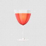 Glace de vin rouge Illustration de vecteur sur le fond à carreaux Images libres de droits