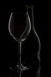 Glace et bouteille de vin Image libre de droits