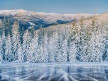 Glace et fissures bleues sur la surface de la glace Lac congelé sous un ciel bleu pendant l'hiver Les collines des pins L'hiver photographie stock libre de droits
