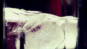 Glace fondant dans une longueur en verre de plan rapproché de Timelapse banque de vidéos