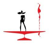 Glace noire et rouge de silhouette de FEMME d'abstraction illustration de vecteur