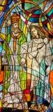 Glace souillée affichant l'évêque Nicholas et croyant illustration de vecteur