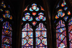 Glace souillée dans Sainte Chapelle Paris Image libre de droits