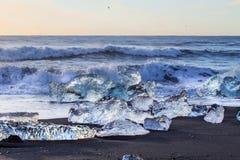 Glace sur une plage noire photographie stock libre de droits