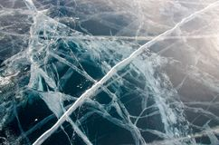 Glace transparente lisse du lac Baïkal image stock
