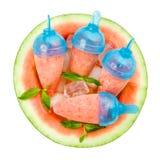 Glaces à l'eau de pastèque sur le blanc Photographie stock