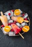 Glaces à l'eau faites maison avec des baies et des fruits, Crème glacée de fruit images libres de droits