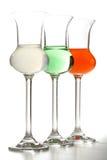 Glaces avec des boissons de couleur Photos libres de droits